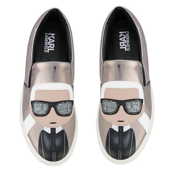 Karl Lagerfeld女鞋 KUPSOLE Q版樂福鞋-銀灰