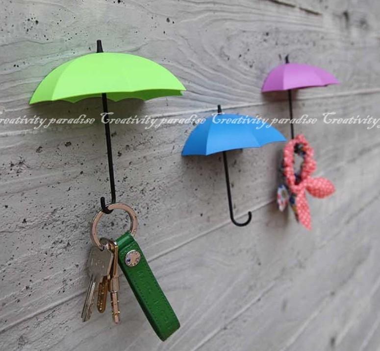UMBRELLA DROP糖果色雨傘造型掛鉤可愛卡哇伊裝飾黏貼式掛勾3入