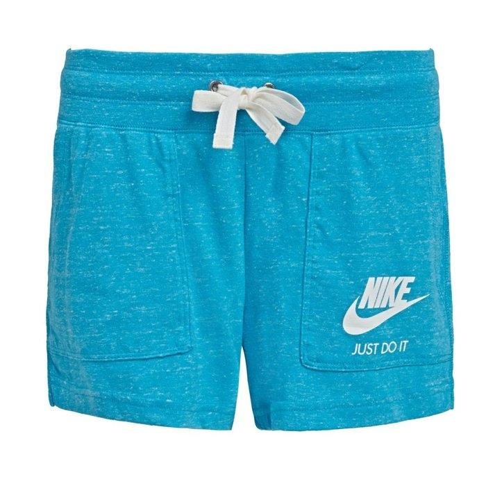 NIKE GYM VINTAGE SHORT女裝短褲慢跑休閒棉質雪花藍白運動世界726064-418
