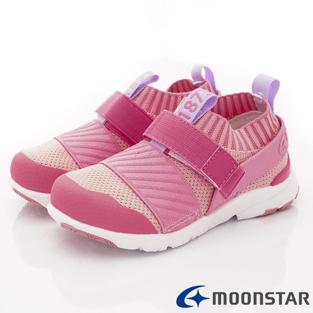 日本Moonstar機能童鞋 襪套忍者鞋款 22284粉(中小童段)