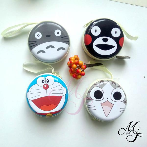 【Miss Sugar】【99免運】流行卡通硬幣包熊本創意禮品收納包馬口鐵耳機線包龍貓零錢包