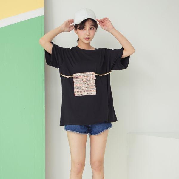 棉寬鬆圓領錬條小包短袖T恤 ( 黑 白)