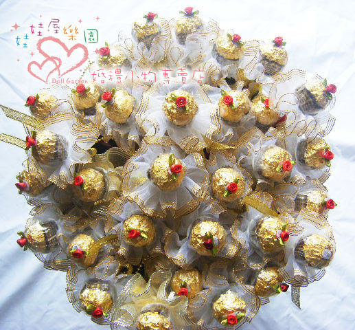 娃娃屋樂園~深情玫瑰60支金莎巧克力花棒每束1680元婚禮小物送客禮第二次進場花棒