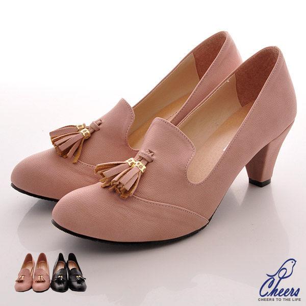 樂福鞋*Cheers*甜美簡約流蘇造型樂福高跟鞋-兩色 現貨【W3016】