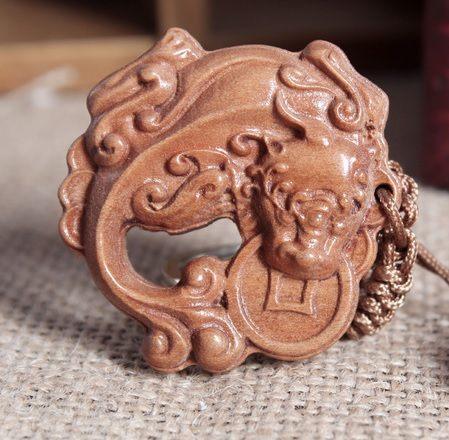開光桃木貔貅鑰匙扣