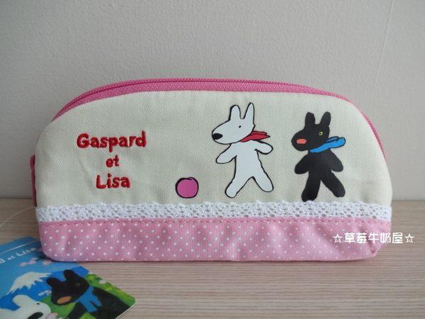 草莓牛奶屋日本進口Gaspard et Lisa黑白狗粉紅蕾絲眼鏡小物收納包