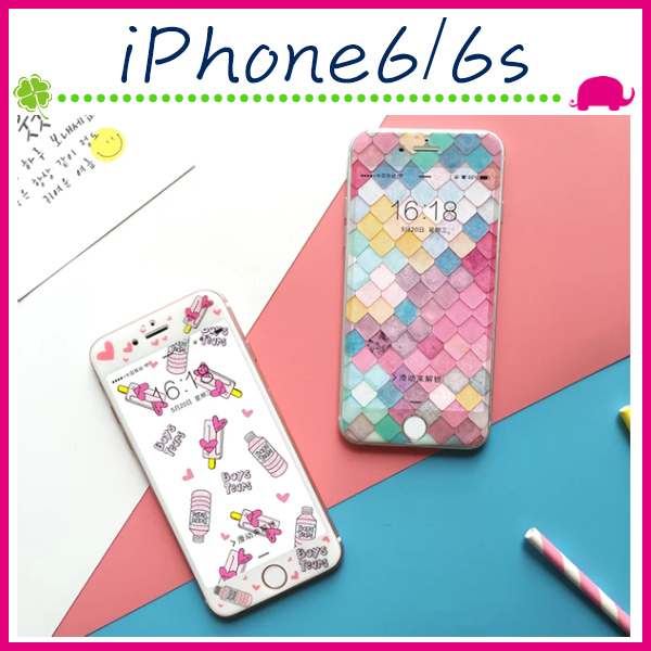 Apple iPhone6 6s 4.7吋Plus 5.5吋創意鋼化玻璃膜滿版螢幕保護貼彩色菱格鋼化膜9H保護貼正面