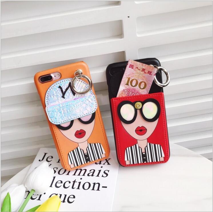 iphone 6 6s 7 8 plus手機殼韓國眼睛女神零錢包皮質帶鎖扣tpu保護套