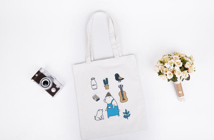 韓國熊熊農夫插畫帆布包原創清新小帆布(有拉鍊)文藝帆布袋帆布包-蛋妹的店