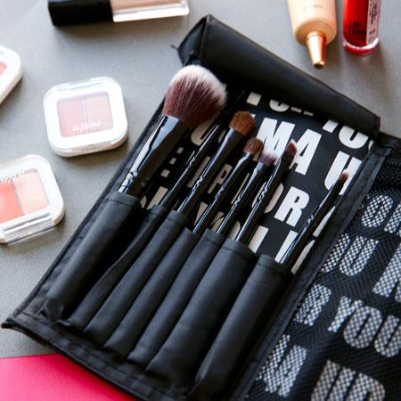 尼龍化妝包刷具七件組眼影刷眉刷唇刷遮瑕刷腮紅刷蜜粉刷化妝彩妝刷具組刷子