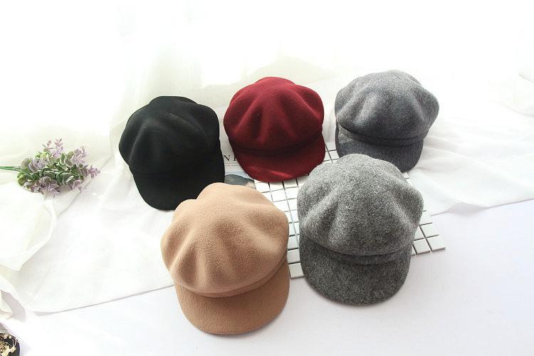 韓版秋冬帽子女羊毛呢光板南瓜帽貝雷帽子八角帽馬術棒球帽子潮