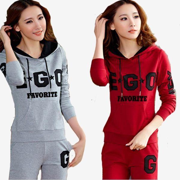 套裝  薄連帽EGO字樣長袖口袋上衣+鬆緊腰口袋長褲  (紅 灰)二色售 11662005