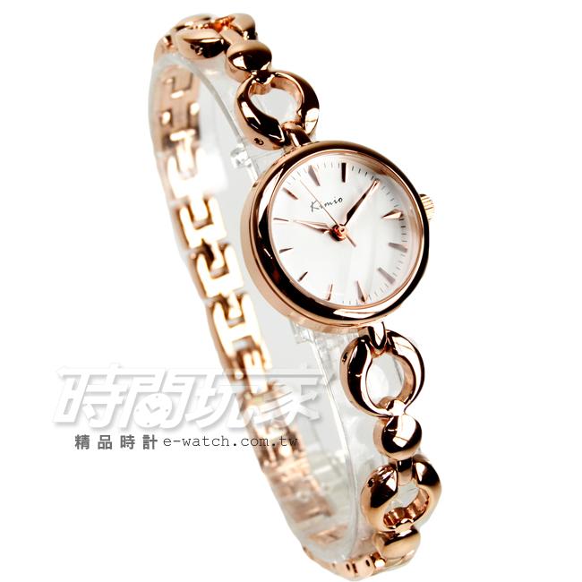 Kimio金米歐簡約氣質手鍊型腕錶防水手錶手鍊錶細手環玫瑰金電鍍女錶K6203玫白