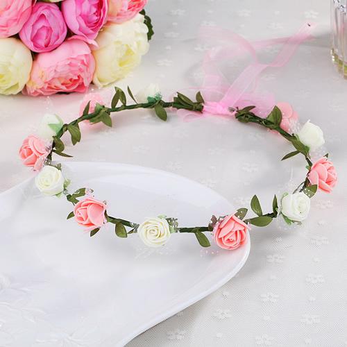 花環頭飾發飾頭環手環 森女海邊兒童 新娘花朵頭發箍 16朵花(小綠葉12花)花環─預購CH1735