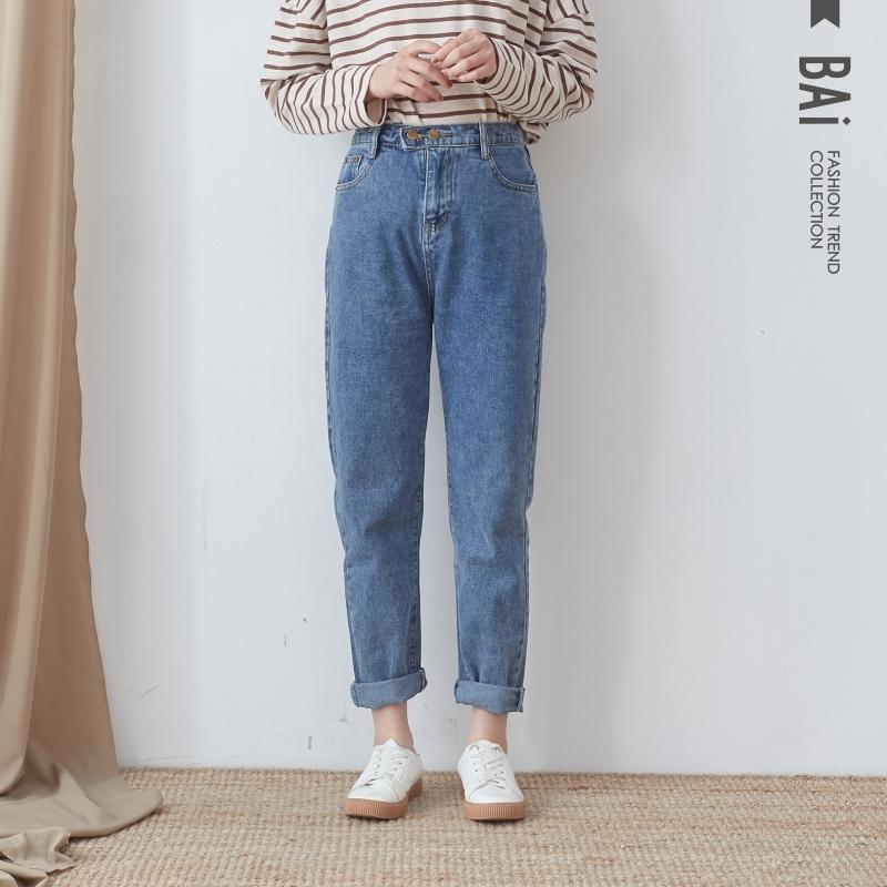 男友褲 金屬雙釦後鬆緊高腰牛仔褲M-XL號-BAi白媽媽【196368】