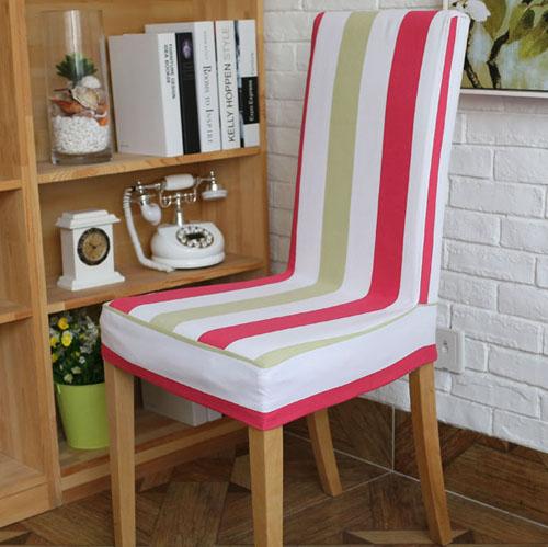 [超豐國際]玫紅黃綠條紋純棉全棉布藝連體椅套餐椅套軟包擺邊可1入