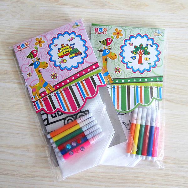 韓風童品手工DIY材料包創意彩繪環保手提袋親子創意手作DIY兒童益智涂鴉收納袋系列3