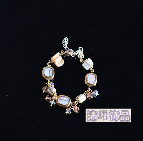 飾品新款貝殼亮麗款女式手工手鏈2色入女式手鐲女生禮物