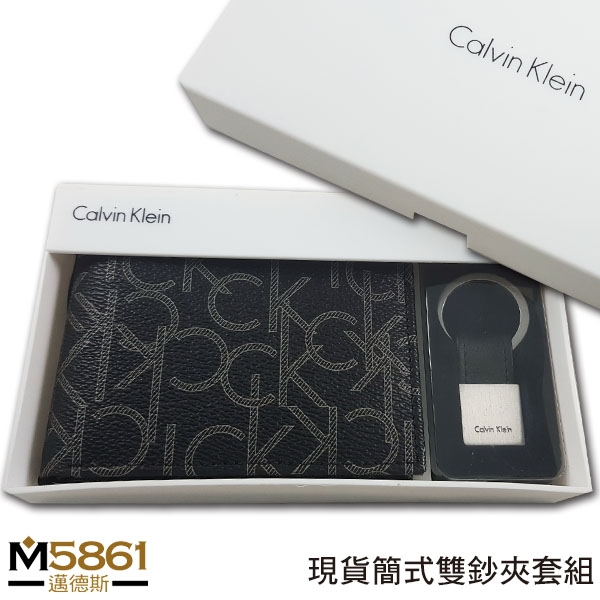 【CK】Calvin Klein 男皮夾 短夾 簡式雙鈔夾 CK壓紋+CK鑰匙圈套組 品牌盒裝+原廠提袋/黑色