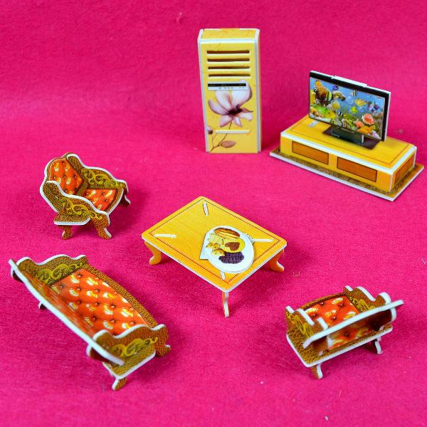 佳廷家庭親子DIY紙模型3D立體拼圖贈品獎勵品專賣店甜蜜居家佈置袋裝居家1客廳Calebou卡樂保