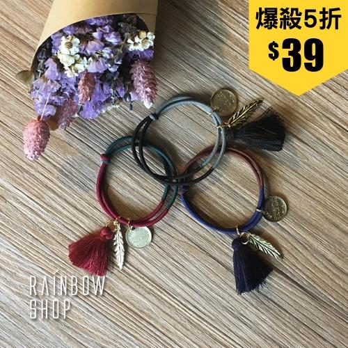韓國配色雙繩流蘇綴飾髮圈-K-Rainbow【AB032307】