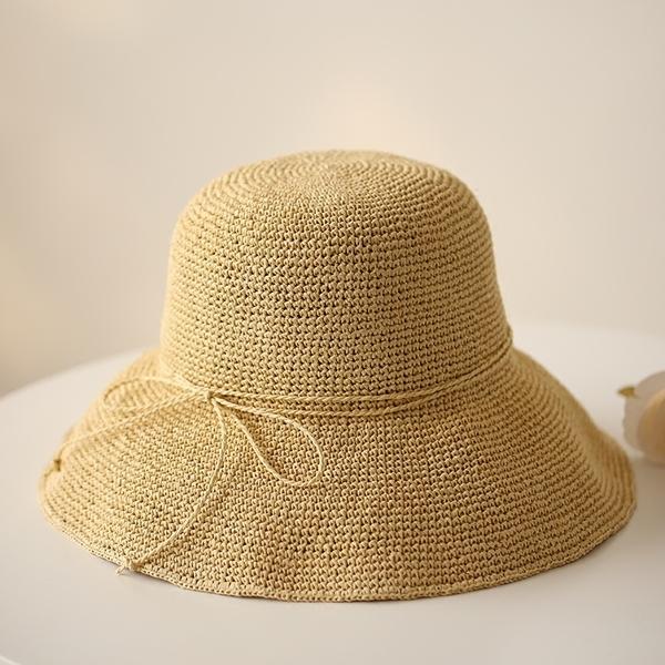 韓版草帽女夏天出遊度假遮陽防曬沙灘帽子大簷可折疊手工草帽