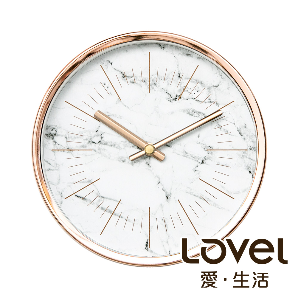 Lovel 16cm典雅玫瑰金框靜音時鐘- 共3款