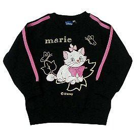 波克貓哈日網女童裝長袖刷毛T恤瑪莉貓圖案黑色