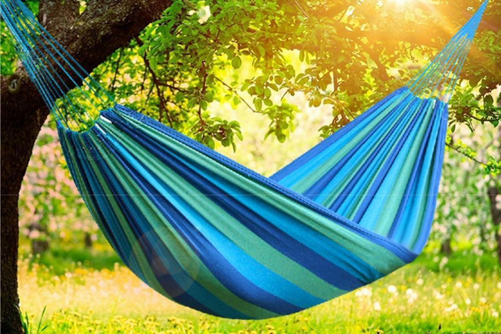超厚帆布防撕裂吊床鞦韆露營必備休閒彩色帆布吊床-單人加大吊床