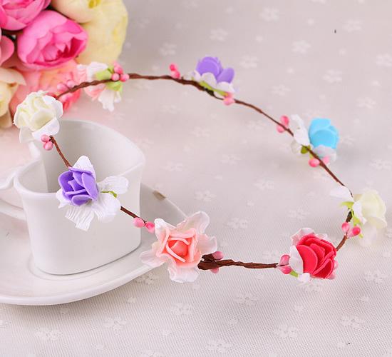 草莓花 花環頭飾景區海邊森女新娘發簪飾品花環材料(草莓8花)花環─預購CH1746