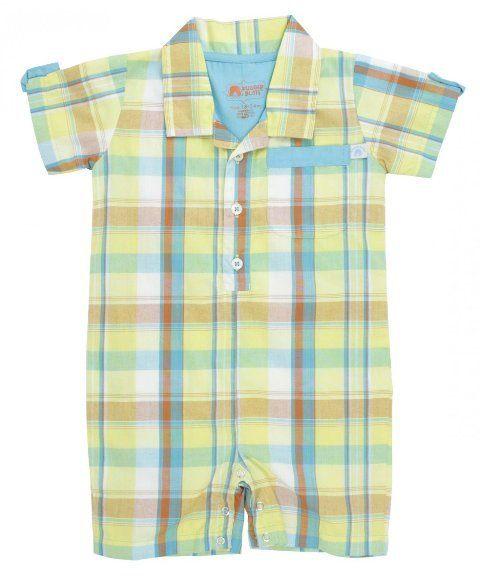 美國RuffleButts RuggedButts小紳仕小男童格子襯衫包屁衣哈衣連身衣童裝-黃藍格子