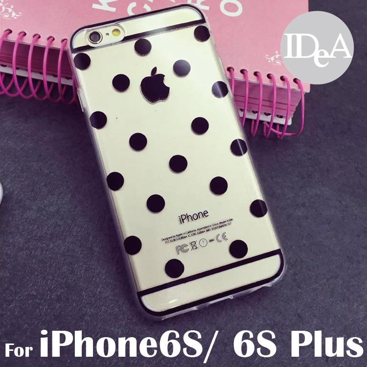 IDEA iPhone6S/6S Plus閃粉點點透明TPU清水手機保護套 軟殼 韓國飾品 黑白波點 馬卡龍 亮粉 矽膠套