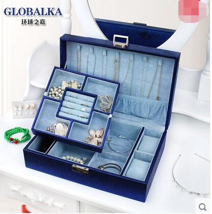 【京東生活小物】環球之嘉首飾盒公主歐式木質飾品盒收納盒雙層皮首飾收納盒