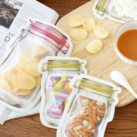 居家小物 梅森瓶透明自封袋 自封袋 保鮮封口袋 夾鏈袋 密封袋 封口袋 防水 收納 旅遊 廚房 野餐
