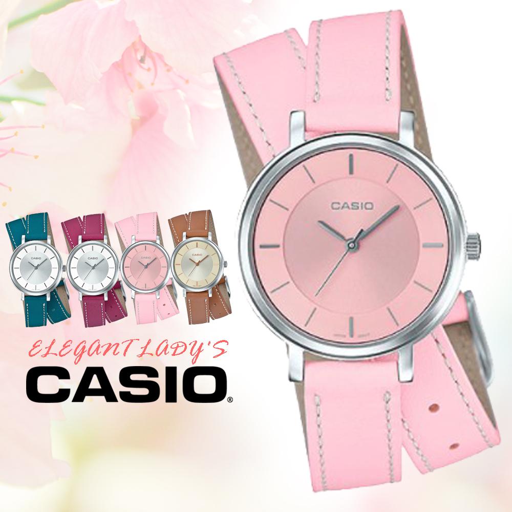 CASIO手錶專賣店國隆CASIO LTP-E143DBL-4A2真皮錶帶礦物玻璃50米防水