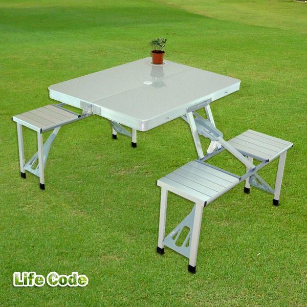【LIFECODE】行動派-鋁合金折疊桌椅-烤肉.野餐桌/仲介洽談桌/休閒桌椅 LC416