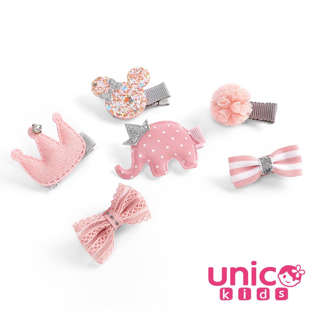 UNICO 兒童 俏皮甜美風大象米奇皇冠蝴蝶結全包布髮夾-6入組