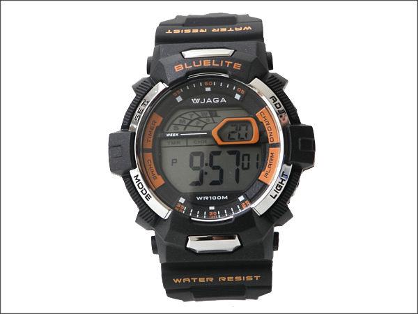 JAGA捷卡多功能流線電子手錶防水高達100米型男必搭錶柒彩年代NE722單支