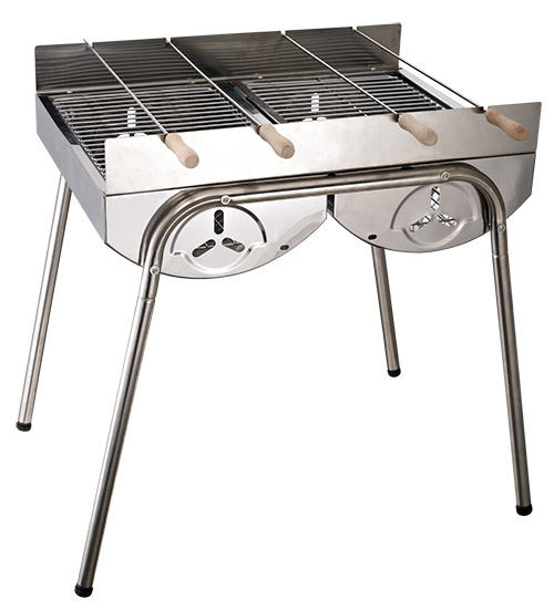 LIKA夢戶外美式厚實不銹鋼BBQ串燒半圓雙桶烤肉爐50.5X41X53CM露營家庭適用F32-5468