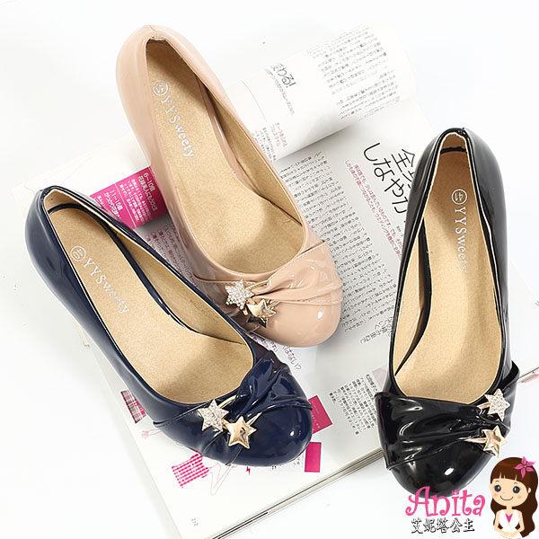 艾妮塔公主。中大尺碼女鞋。時尚簡約流星設計中跟鞋 共3色。40~45碼 (D527)