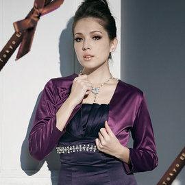 東京衣服TOKYO Ef-凱渥許瑋甯-胸前蝴蝶結顯瘦短版外套紫共二色