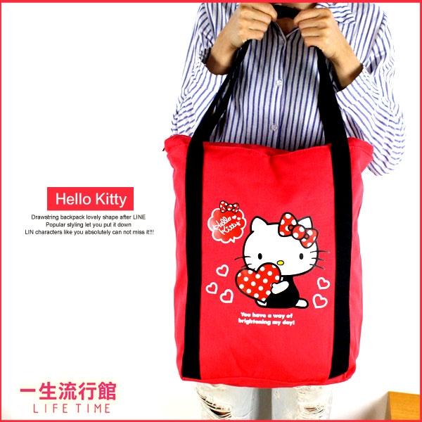 《最後3個》Hello Kitty 凱蒂貓 蛋黃哥 正版 超大容量 購物袋 袋子 旅行肩背袋 B15660