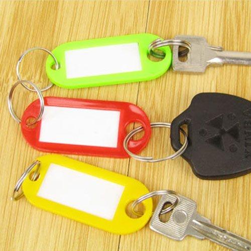 塑料鑰匙標籤牌(100入裝) 鑰匙圈 賓館鑰匙牌 標識牌 (顏色隨機出貨)