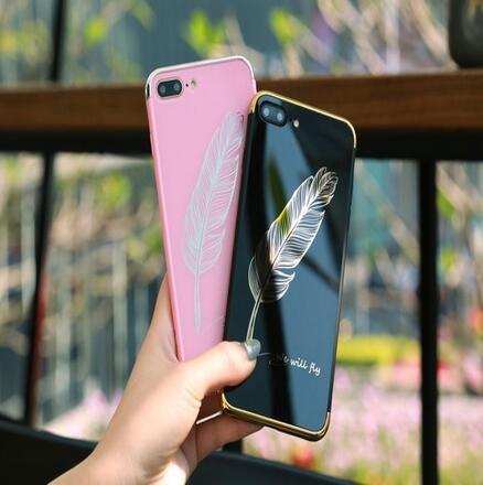 【SZ24】OPPO A39/A57/A59 電鍍鏡面羽毛情侶手機殼 A37全包軟邊保護殼外殼