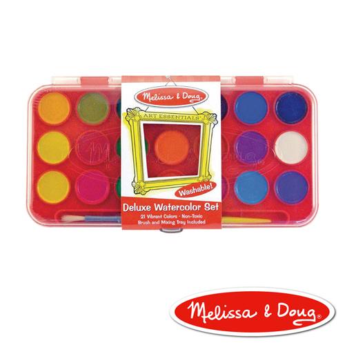 美國瑪莉莎Melissa Doug美勞創意豪華水彩粉餅顏料21色