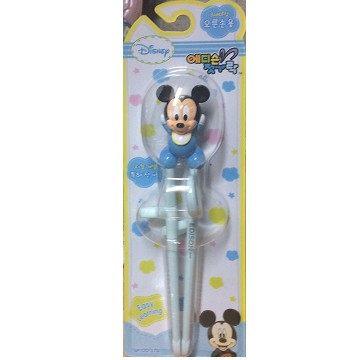 韓國EDISON迪士尼幼兒學習筷右手用韓國筷子塑膠材質-米奇-超級BABY