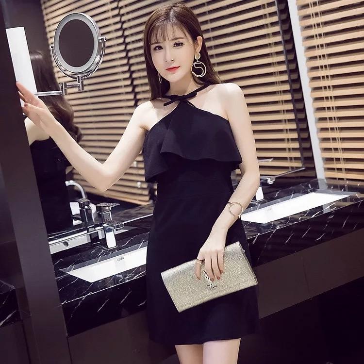 韓流風修身女裝典雅晚禮服連身裙夜店顯瘦掛勃性感黑灰時尚無袖小可愛衣服露肩