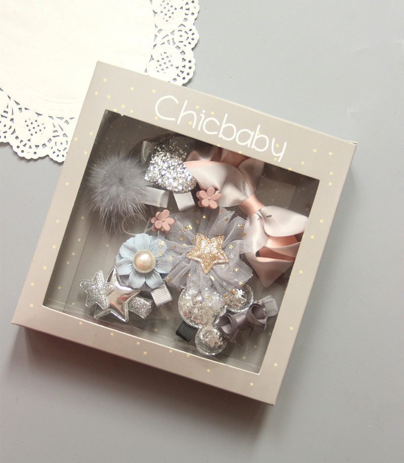 10件組韓國風女童銀色米奇精美髮夾公主髮夾寶寶邊夾髮飾灰色系~EMMA商城