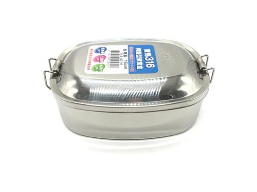 【好市吉居家生活】 寶馬牌 TA-S-127-15 316橢圓形便當盒 15CM 餐盒 不銹鋼 飯盒