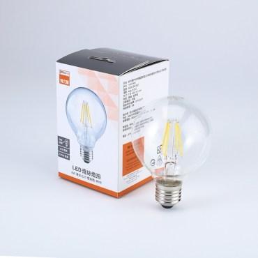 PRO特選圓球型LED燈絲燈泡6W清光E27燈泡色